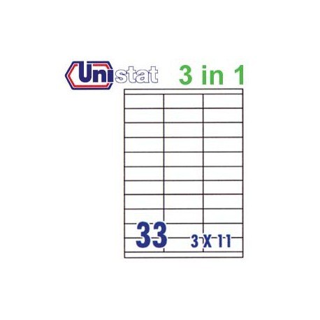 Unistat U4455 Multipurpose Labels A4 70mmx25.4mm 3300's White