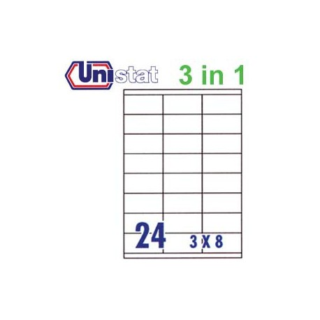 Unistat U4429 Multipurpose Labels A4 70mmx35mm 2400's White