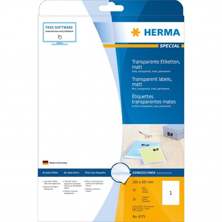 Herma 4375 Premium Labels A4 210mmx297mm 25's Matt Transparent