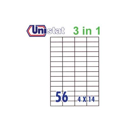 Unistat U4273 Multipurpose Labels A4 52.5mmx21.2mm 5600's White