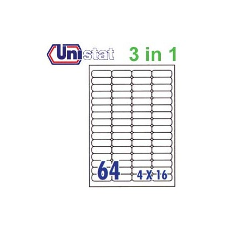 Unistat U4271 Multipurpose Labels A4 48.3mmx16.9mm 6400's White