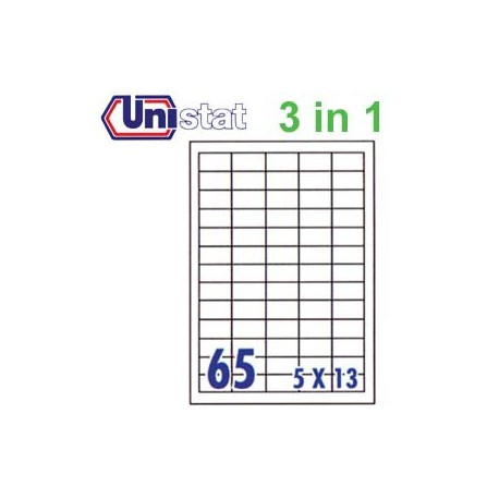 Unistat U4270 Multipurpose Labels A4 38.1mmx21.2mm 6500's White