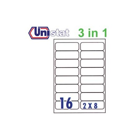 Unistat U4267 Multipurpose Labels A4 99.1mmx33.8mm 1600's White
