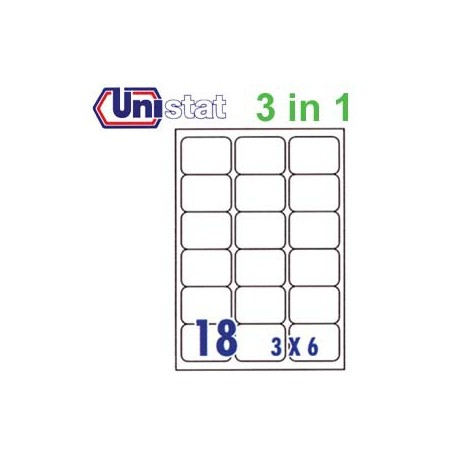 Unistat U4265 Multipurpose Labels A4 63.5mmx46.6mm 1800's White