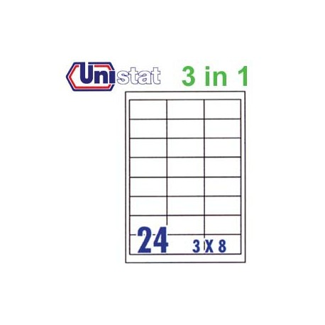 Unistat U4262 Multipurpose Labels A4 64.6mmx33.8mm 2400's White
