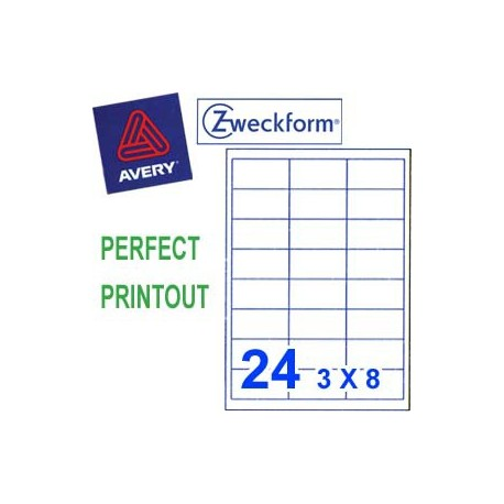 Zweckform 3658 Multipurpose Labels A4 64.6mmx33.8mm 2400's White