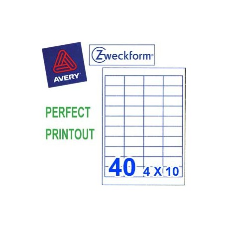 Zweckform 3657 Multipurpose Labels A4 48.5mmx25.4mm 4000's White