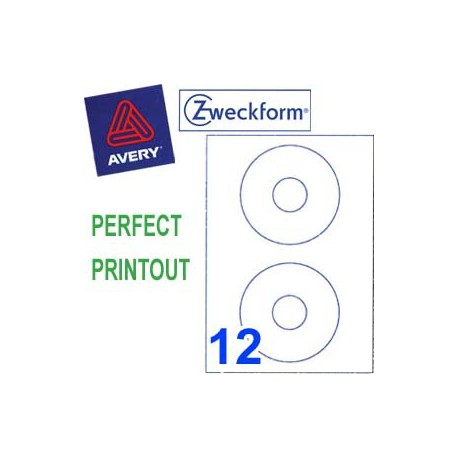 Zweckform 3654 Multipurpose Labels Round Labels A4 Dia.117mm 200's White