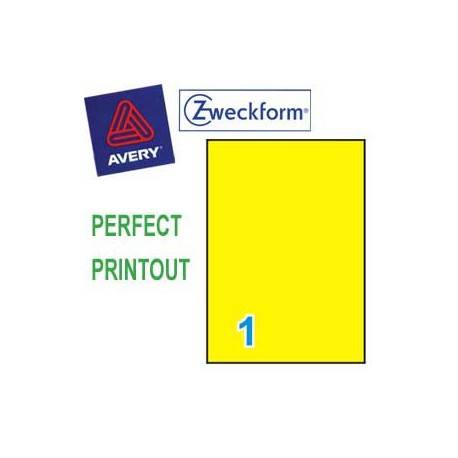 Zweckform 3473 Multipurpose Labels A4 210mmx297mm 100's Yellow