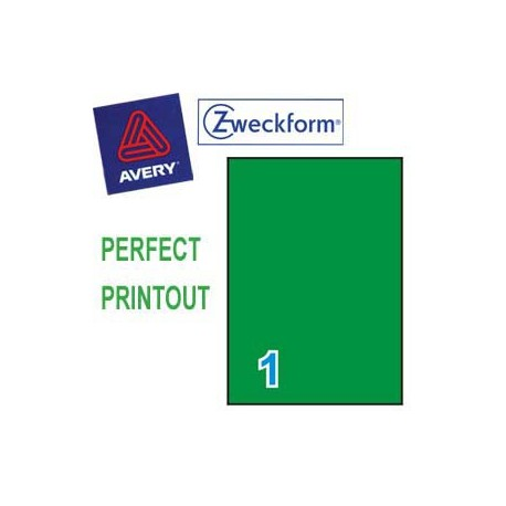 Zweckform 3472 Multipurpose Labels A4 210mmx297mm 100's Green