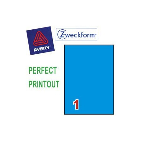 Zweckform 3471 Multipurpose Labels A4 210mmx297mm 100's Blue