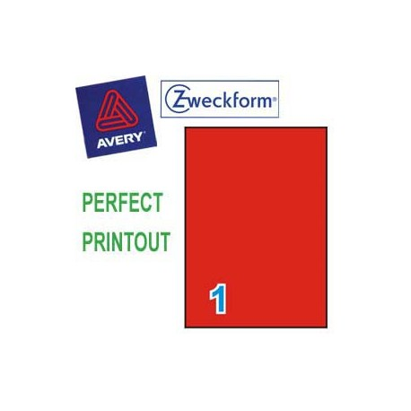 Zweckform 3470 Multipurpose Labels A4 210mmx297mm 100's Red