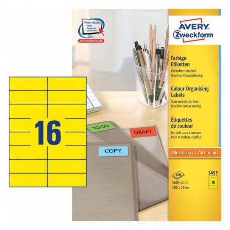 Zweckform 3455 Multipurpose Labels A4 105mmx37mm 1600's Yellow