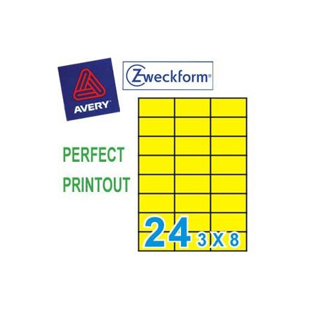Zweckform 3451 Multipurpose Labels A4 70mmx37mm 2400's Yellow