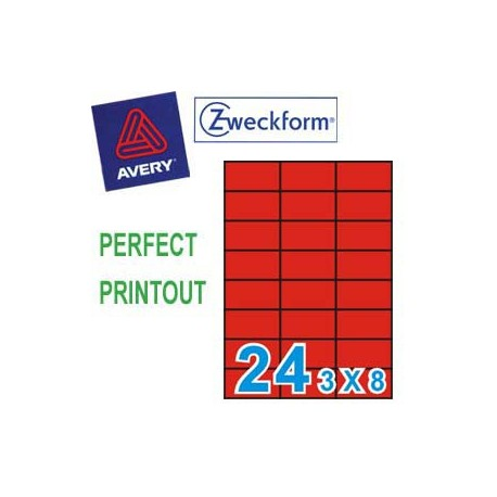 Zweckform 3448 Multipurpose Labels A4 70mmx37mm 2400's Red