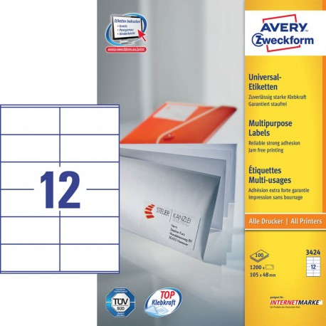 Zweckform 3424 Multipurpose Labels A4 105mmx48mm 1200's White
