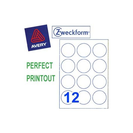 Zweckform 3416 Multipurpose Labels Round Labels A4 Dia.60mm 1200's White