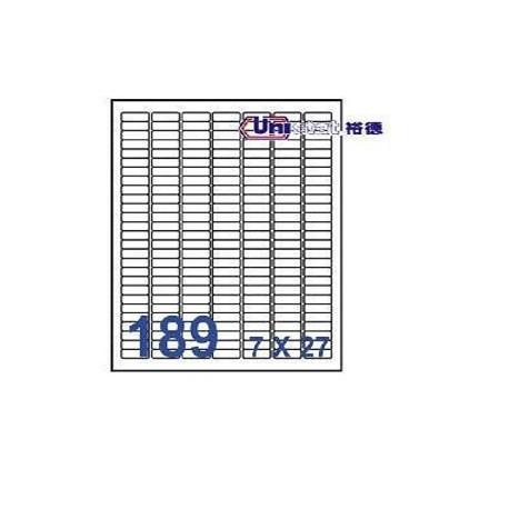 Unistat U4344 多用途標籤 A4 25.4毫米x10毫米 18900個 白色