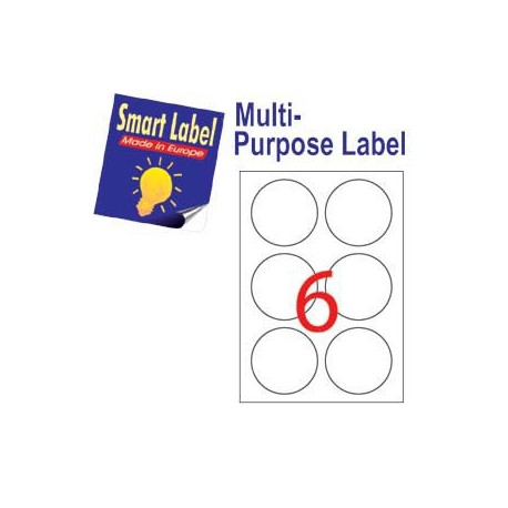 Smart Label 2593 Multipurpose Labels Round Labels A4 Dia.85mm 600's White