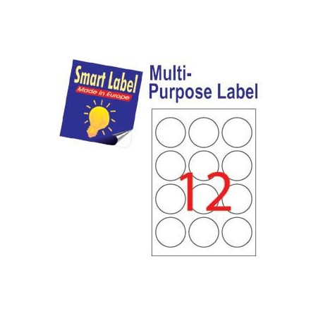 Smart Label 2590 Multipurpose Labels Round Labels A4 Dia.60mm 1200's White