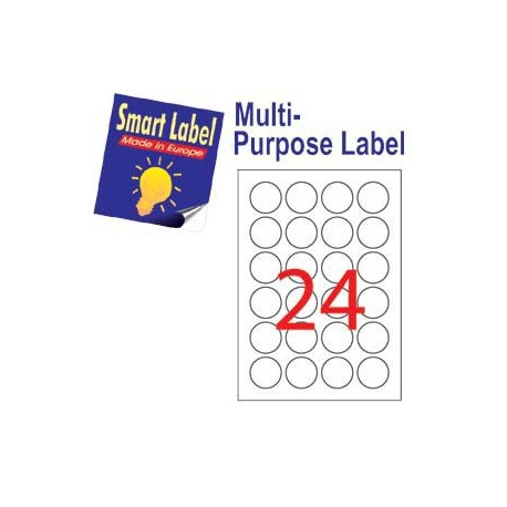 Smart Label 2588 Multipurpose Labels Round Labels A4 Dia.40mm 2400's White