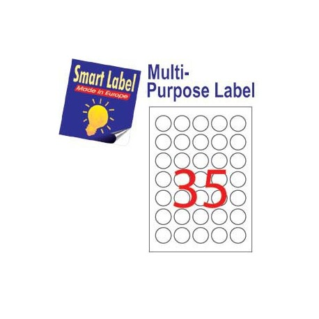 Smart Label 2587 Multipurpose Labels Round Labels A4 Dia.32mm 3500's White