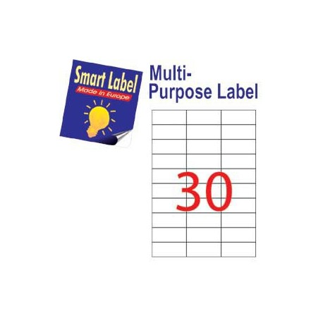 Smart Label 2527 Multipurpose Labels A4 70mmx29.7mm 3000's White