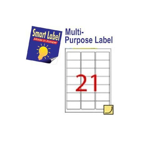 Smart Label 2514 Multipurpose Labels A4 63.5mmx38.1mm 2100's White
