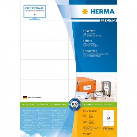 Herma 4674 Premium Labels A4 105mmx42.3mm 1400's White