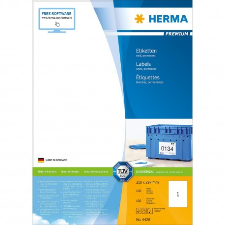 Herma 4428 Premium Labels A4 210mmx297mm 100's White
