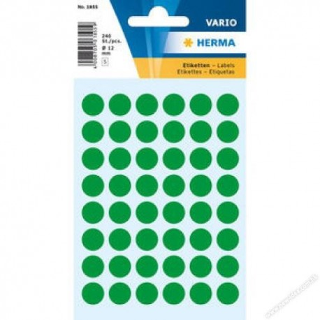 Herma 1855 Round Labels 12mm 240's Dark Green