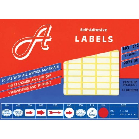 A Labels 208 Self Adhesive Labels 19mmx38mm 600's White