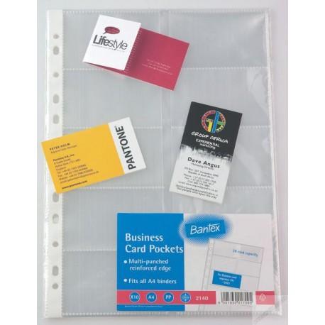 Bantex 2140 Business Card Holder Pockets Refill A4 10's