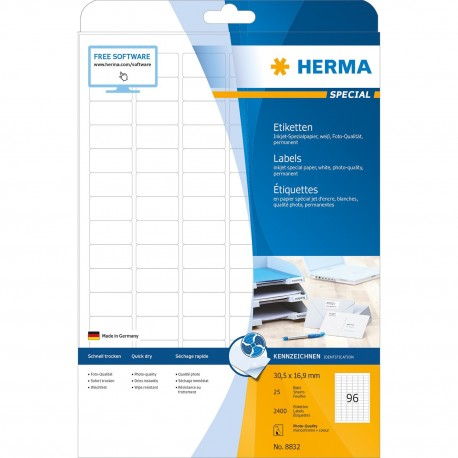 Herma 8832 Inkjet Labels A4 30.5mmx16.9mm 2400's White