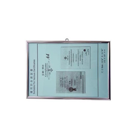 No.104 HK License Insurance Frame A4 Aluminum Frame Silver Horizontal