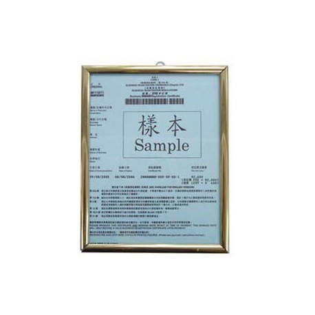 No.106 HK Business Registration Frame A5 Aluminum Frame Golden
