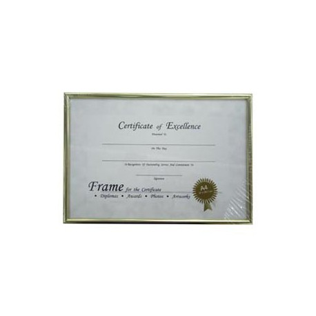 HK License Insurance Frame A4 Aluminum Frame Golden