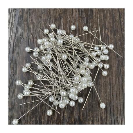 """Pearl Head Pins 1.5"""" 480's White"""