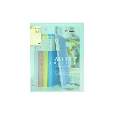 Comix A416 Clear Holder A4 40Pages Matt Clear Green