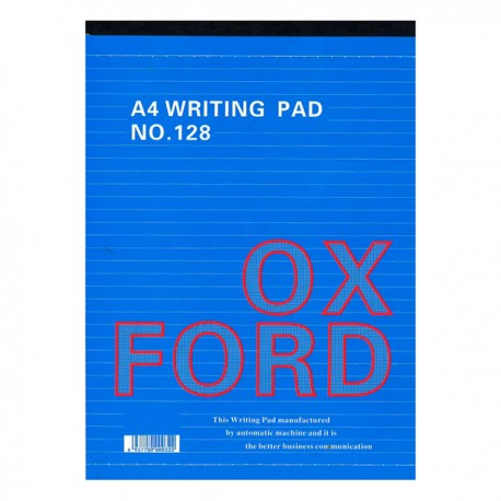 Oxford 128 Writing Pad Single Line Ruled A4 50Pages