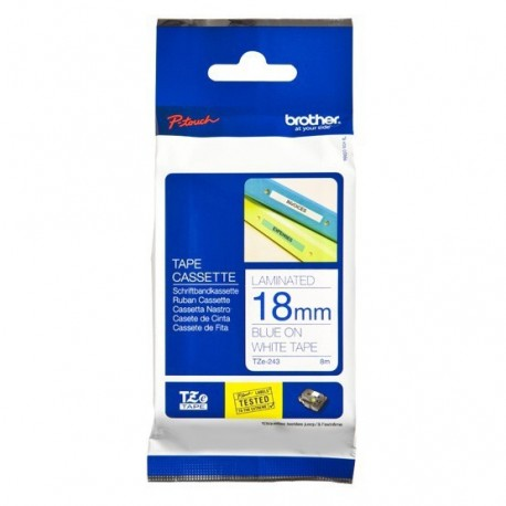 Brother TZe-243 Label Tape 18mmx8M Blue On White