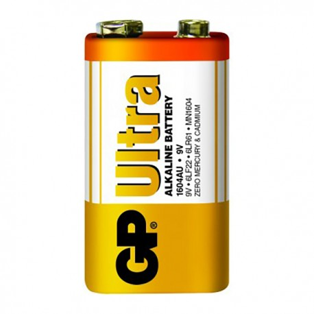 GP Ultra Alkaline Battery 9V Shrink Plastic Bag