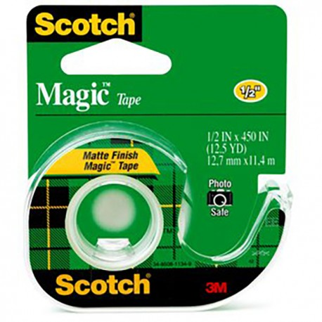 "3M Scotch 104 Magic Tape w/Dispenser 1/2""(12mm)x12.5yds"