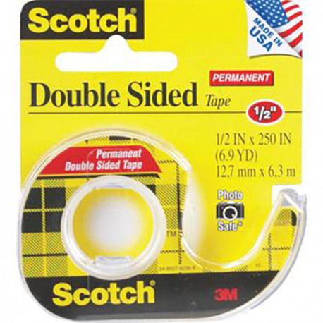 "3M Scotch 136 Double Side Tape w/Dispenser 1/2""(12mm)x6.9yds"
