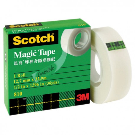 3M Scotch 810 Magic Tape 1/2'(12mm)'x36yds