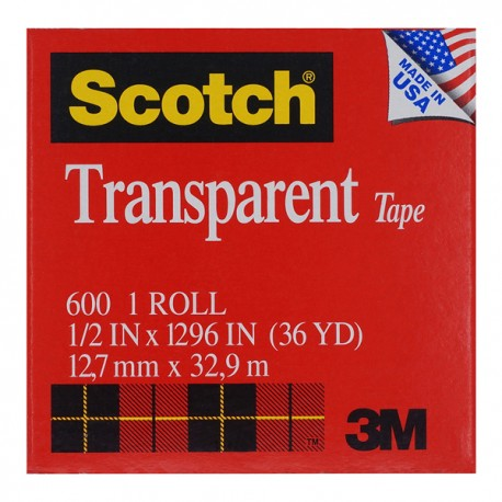 "3M Scotch 600 Transparent Tape 1/2""x36yds"