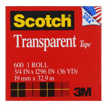 "3M Scotch 600 Transparent Tape 3/4""(19mm)x36yds"