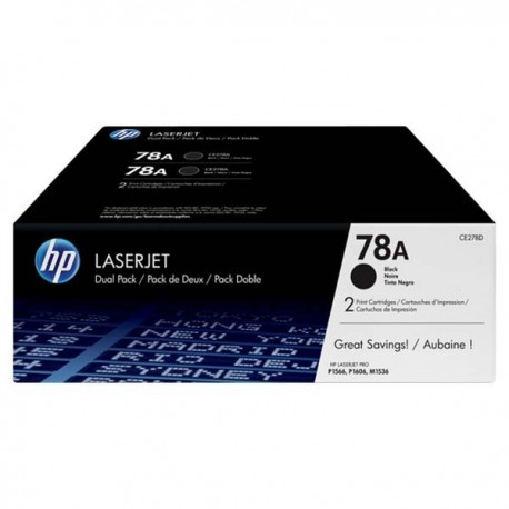 HP CE278AD 78A Toner Cartridge Dual Pack Black