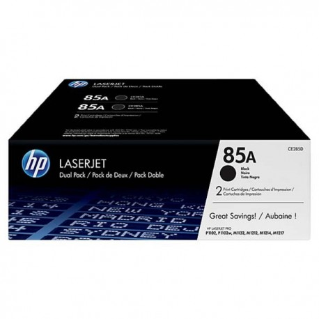 HP CE285AD 85A Toner Cartridge Dual Pack Black