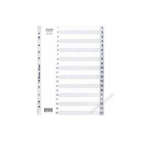 Bantex 6213 PVC Index Divider A4 1-20 Grey
